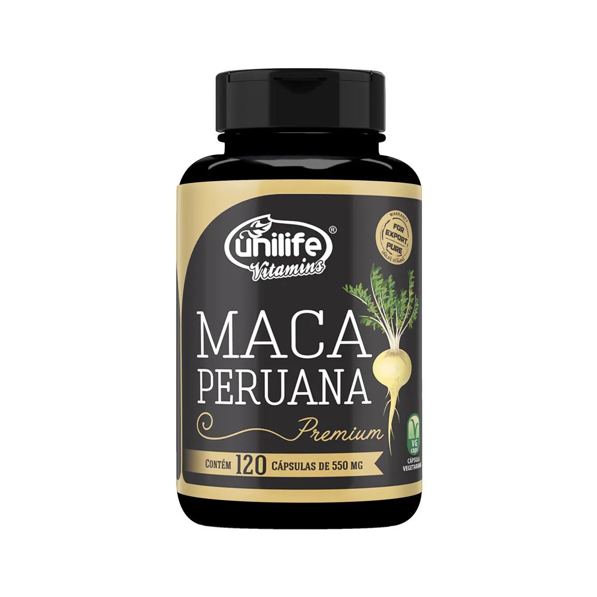 Maca Peruana Premium 550mg 120 Cápsulas - Unilife