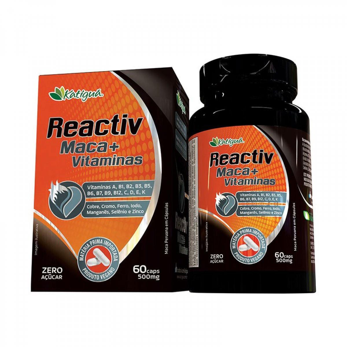 Maca Peruana + Vitaminas Reactiv 500mg 60 cápsulas - Katiguá