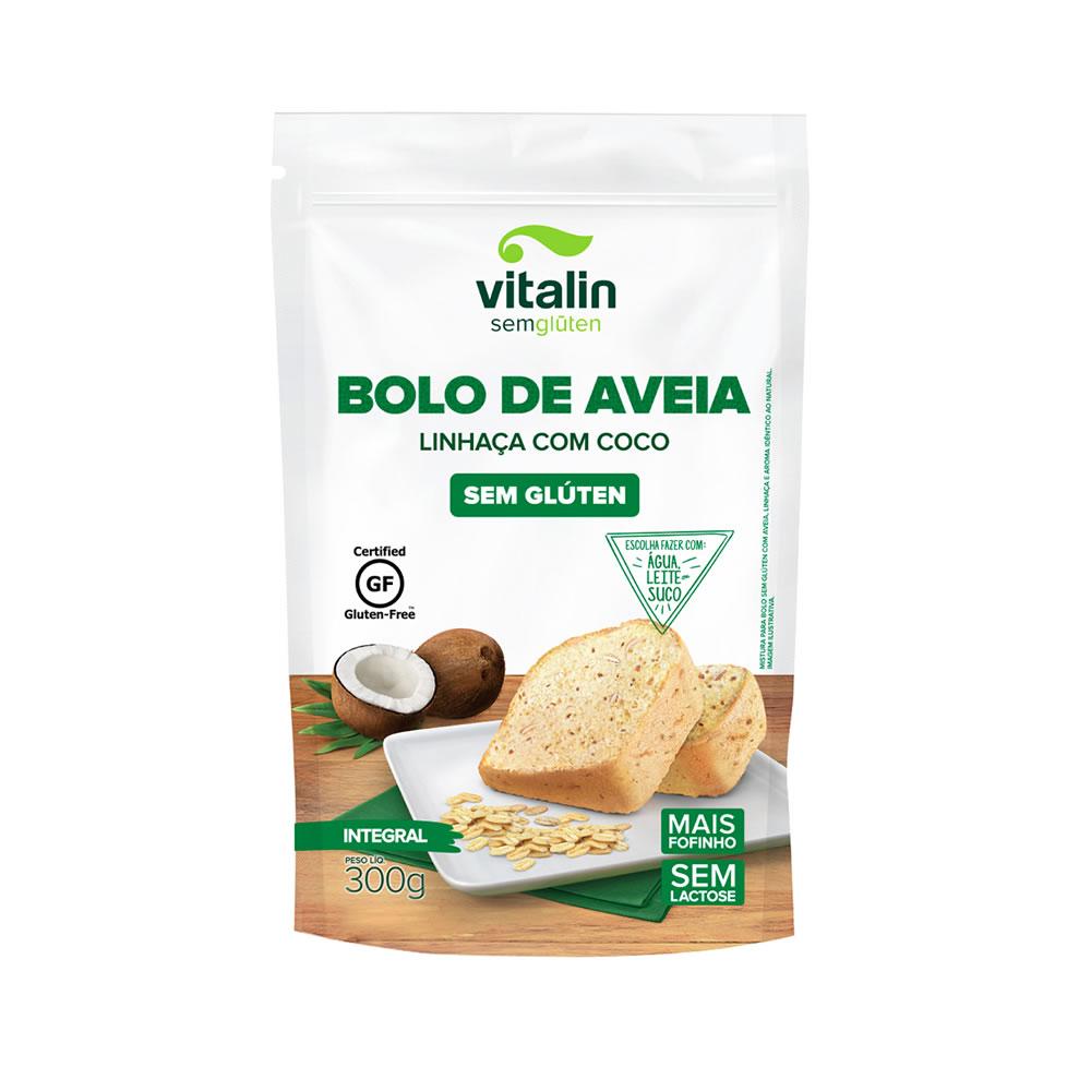 Mistura Integral para Bolo de Aveia, Linhaça e Coco Sem Glúten 300g - Vitalin