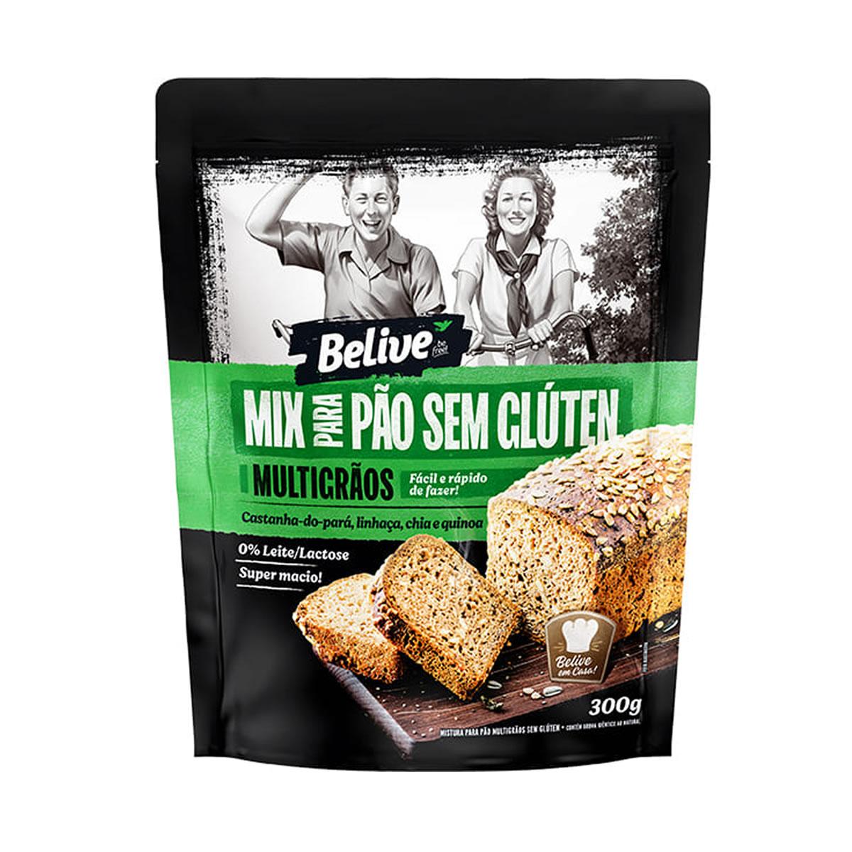 Mix para Pão Multigrãos Sem Glúten 300g - Belive