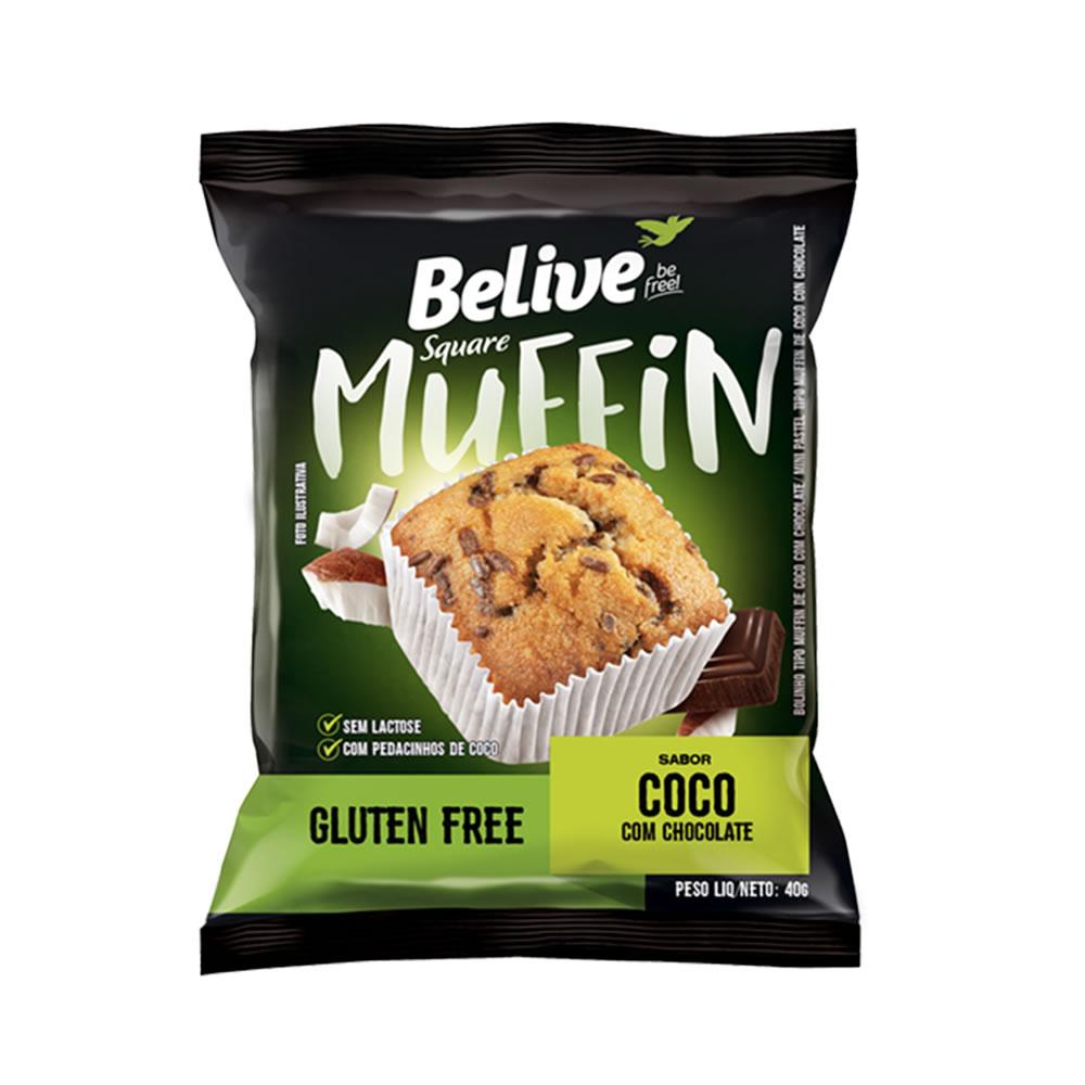 Muffin Sem Glúten Coco Com Chocolate 40g - Belive