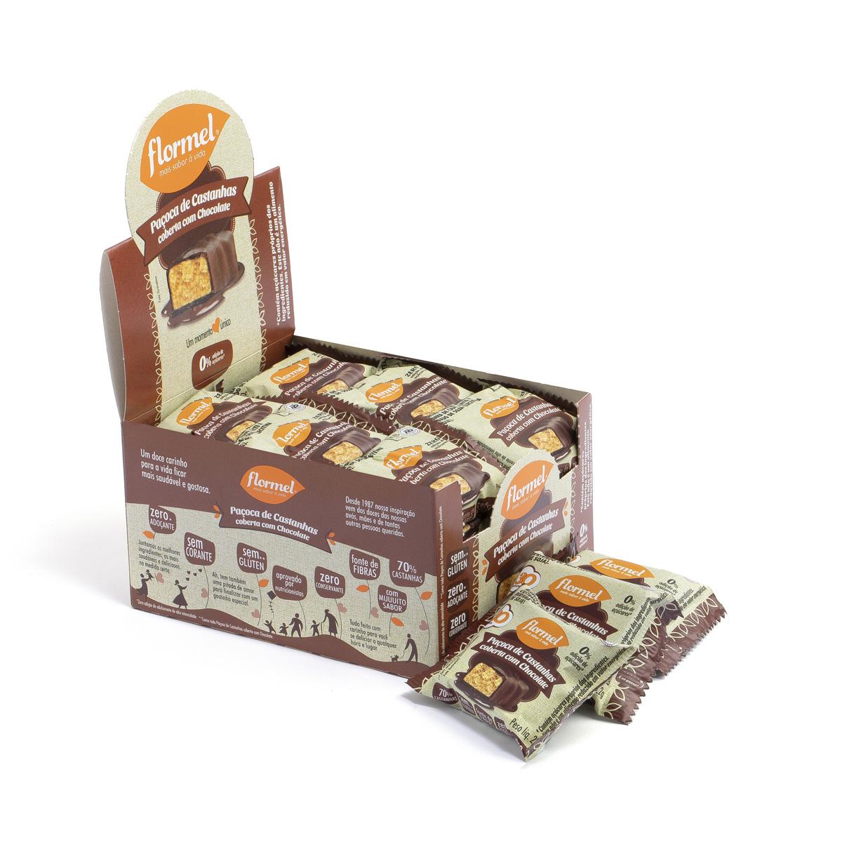 Paçoca De Castanhas com Chocolate Zero Display com 24 un. de 20g - Flormel