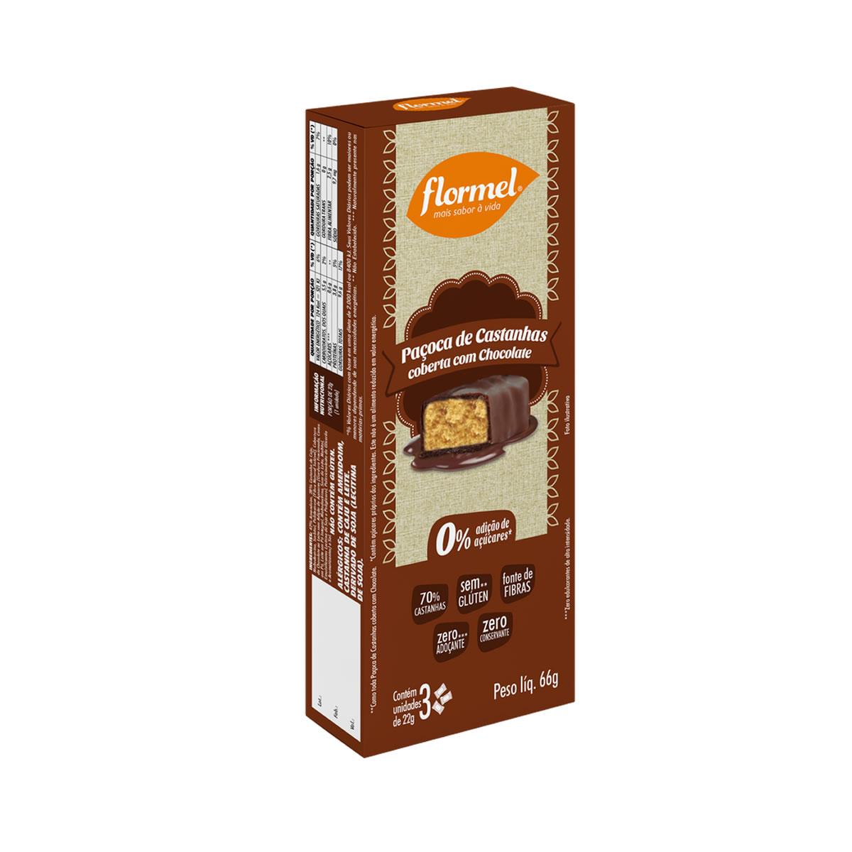 Paçoca de Castanhas Com Chocolate Zero Display com 3 un. de 20g - Flormel