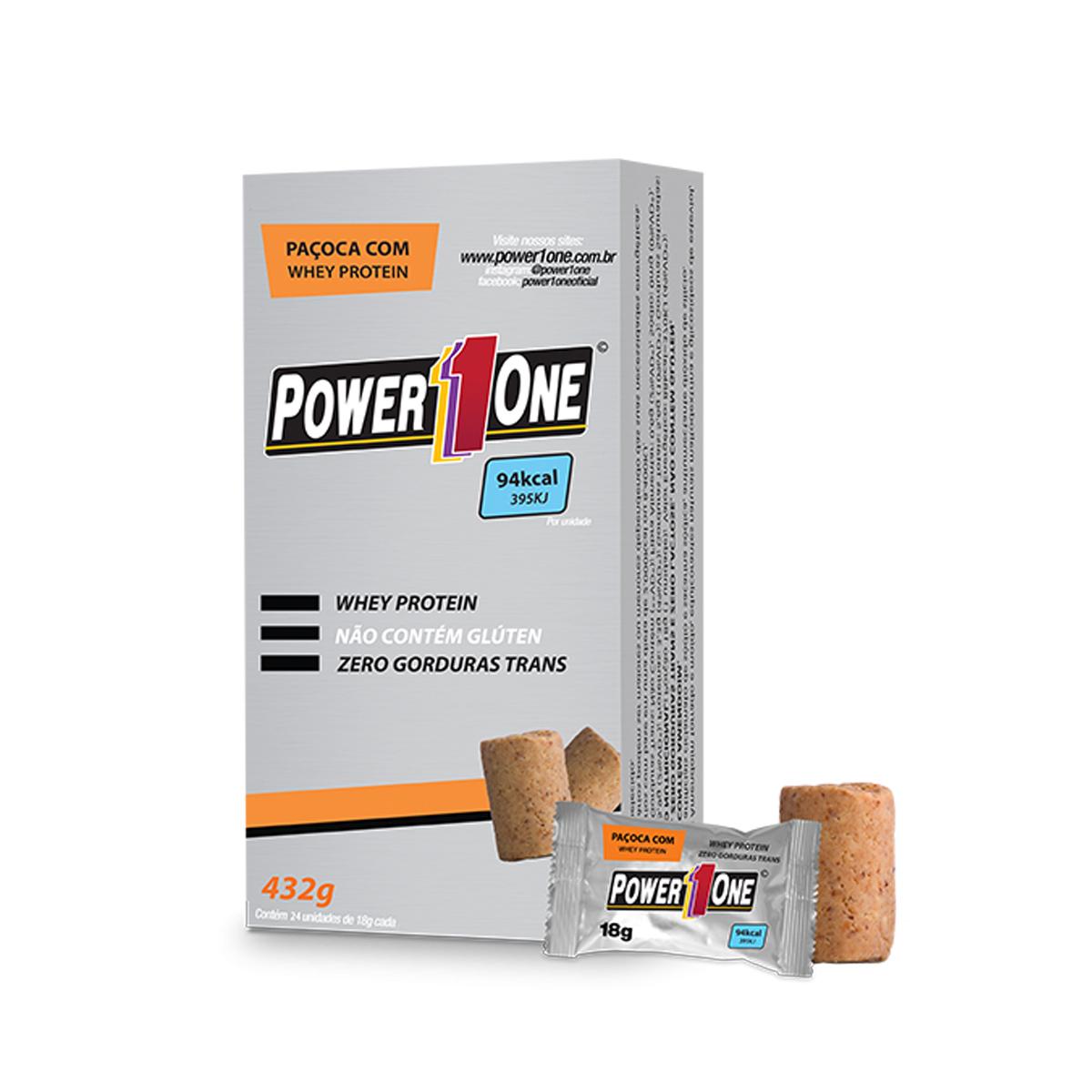 Paçoca Rolha com  Whey Protein 24un. de 18g - Power1One