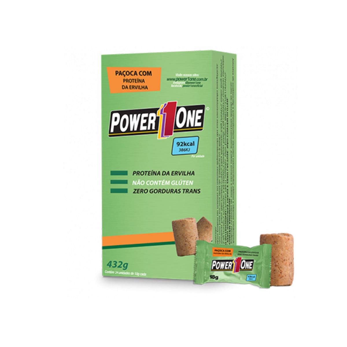 Paçoca Rolha Vegana Proteica 24 unidades de 18g - Power1One