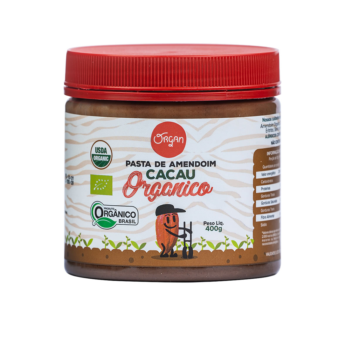 Pasta de Amendoim de Cacau Orgânico 400g - Organ