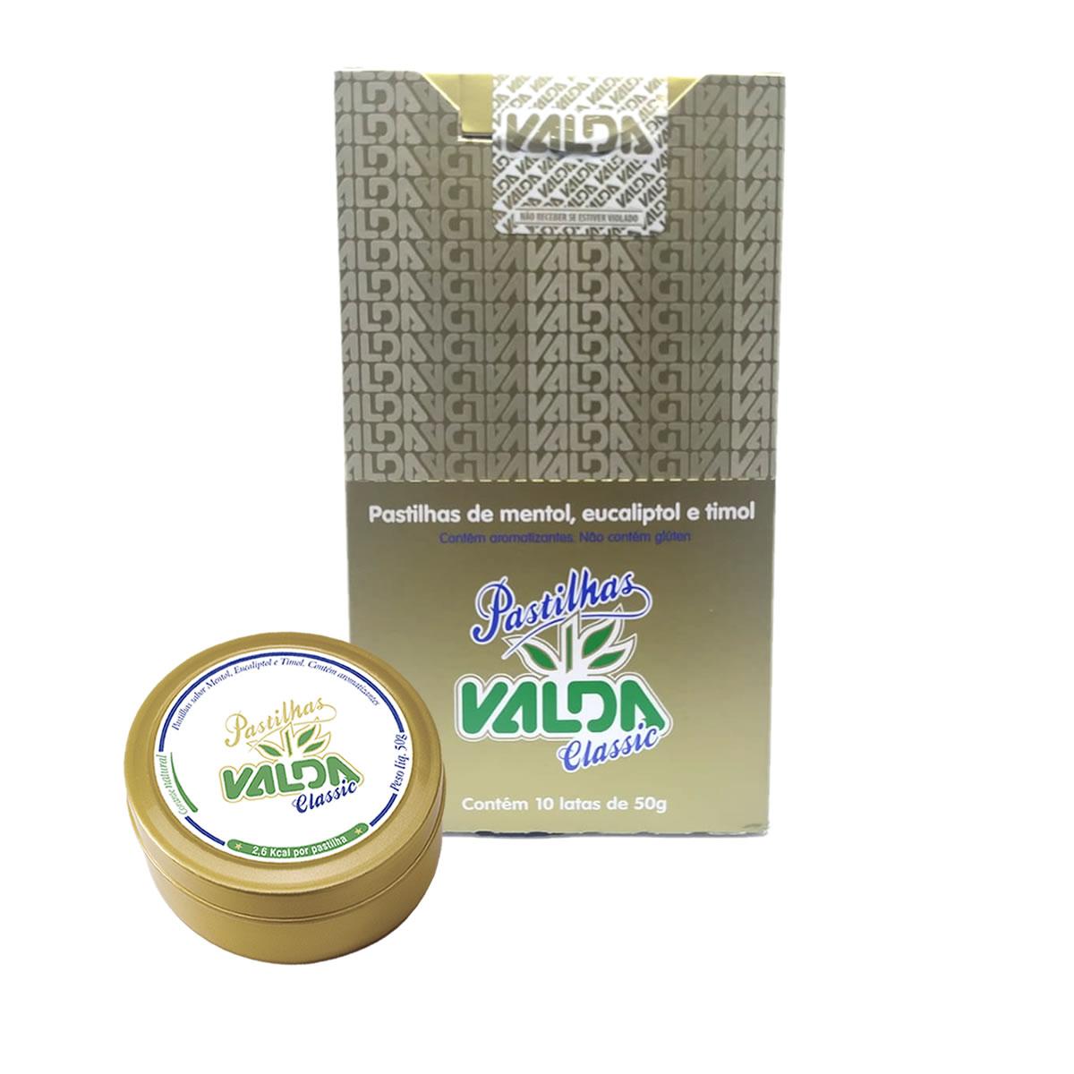 Pastilhas de Mentol Classic Display com 10 Latas de 50g - Valda