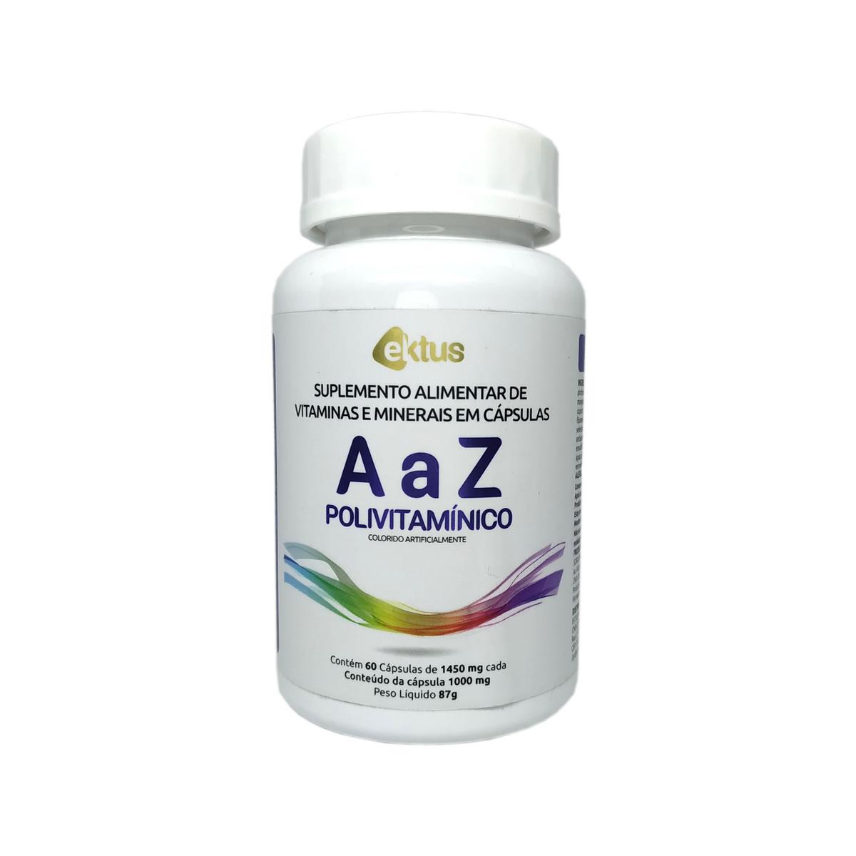 Polivitamínico de A a Z 1000mg com 60 Cápsulas - Ektus