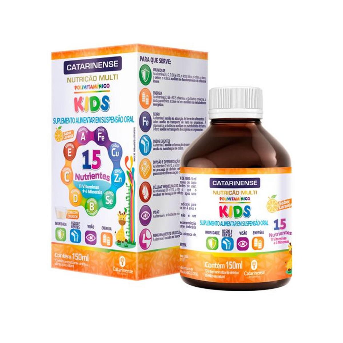 Polivitamínico Kids sabor Laranja 150ml - Catarinense