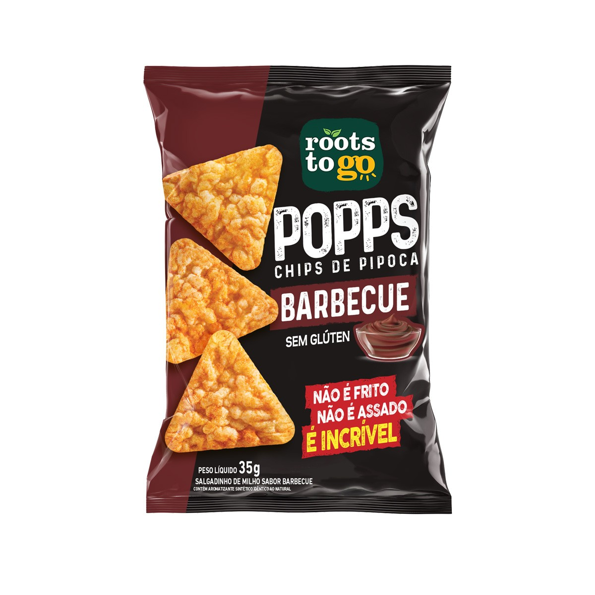 Popps Chips de Pipoca Sabor Barbecue 35g - Roots To Go ****