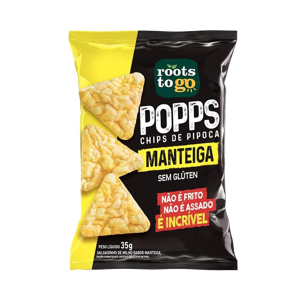 Popps Chips de Pipoca Sabor Manteiga 35g - Roots To Go