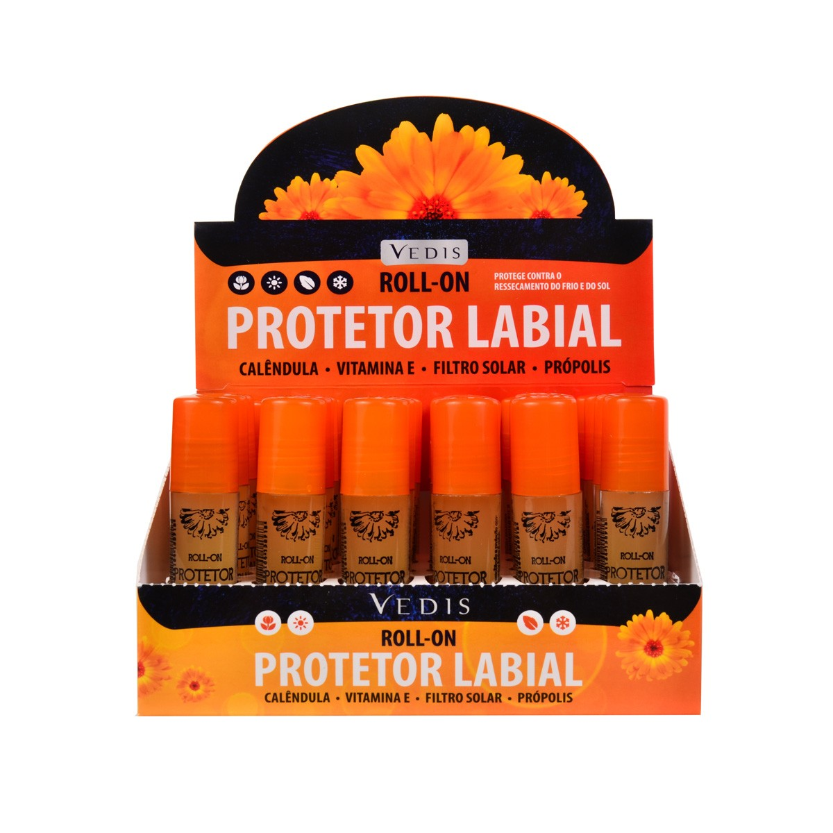 Protetor Labial Roll-on com Calêndula Display com 24 un. de 5ml - Vedis