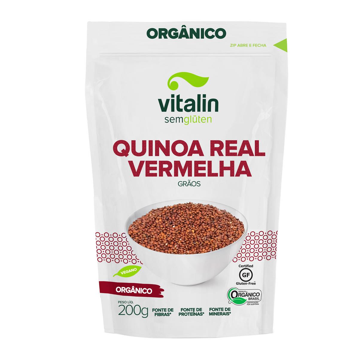 Quinoa Real Vermelha em Grãos Orgânico 200g - Vitalin