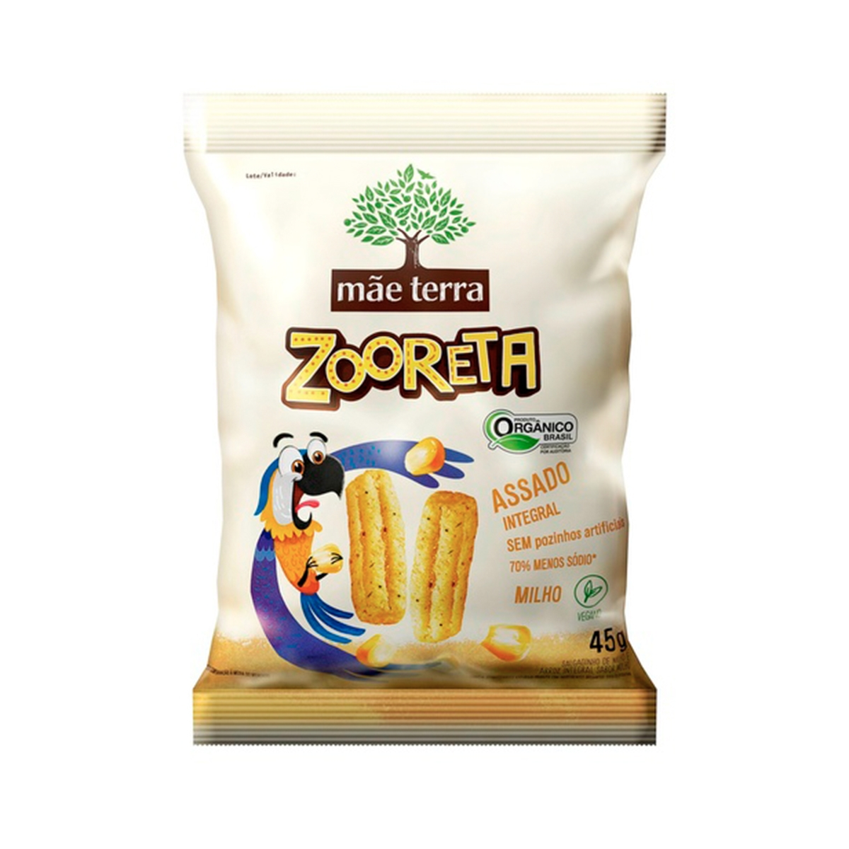 Salgadinho Orgânico Zooreta Milho 45g - Mãe Terra