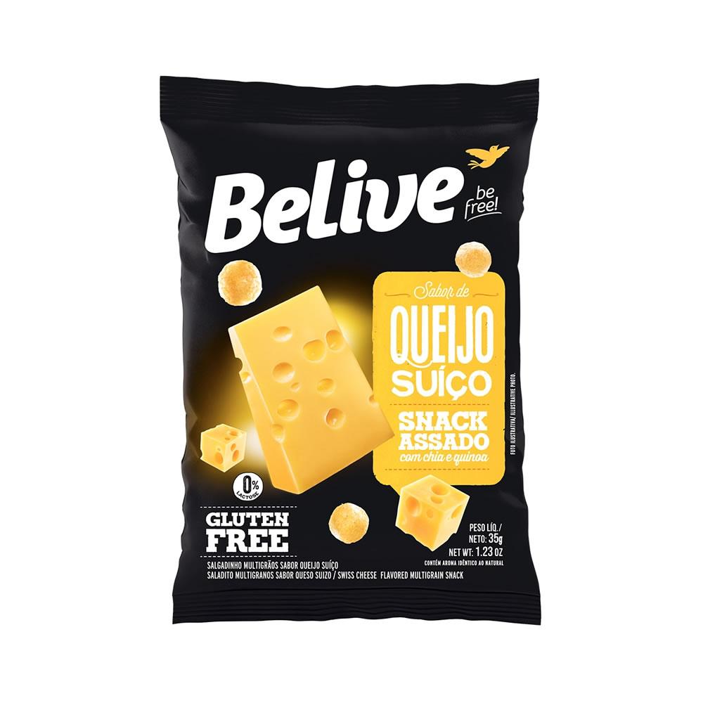 Snack Sem Glúten Sabor Queijo Suiço 35g - Belive