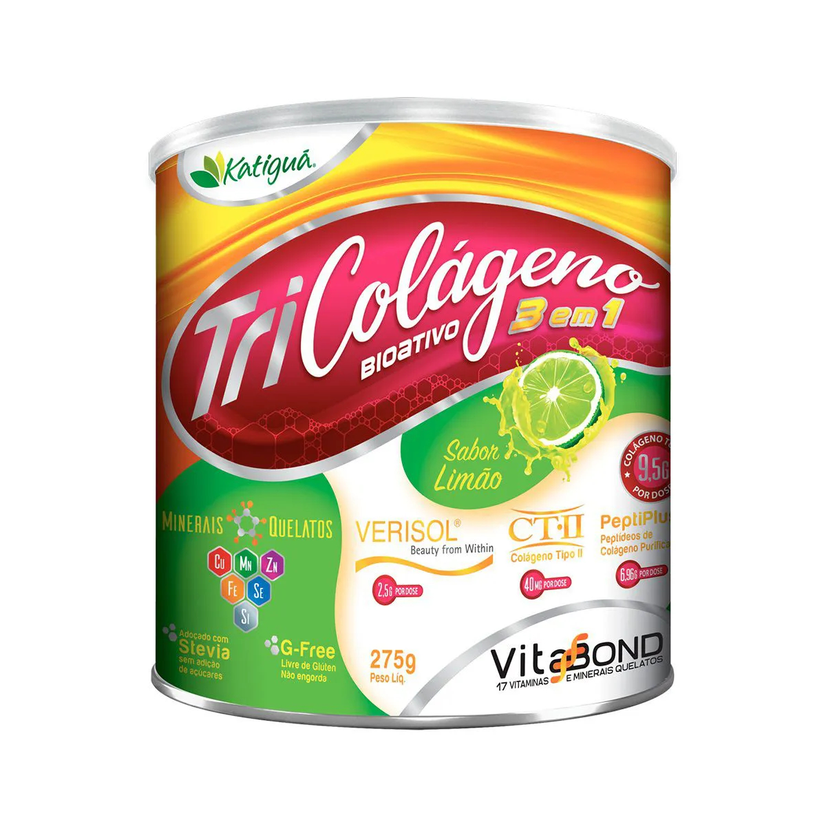 Suplemento Tri Colágeno Bioativo sabor Limão 275g - Katiguá