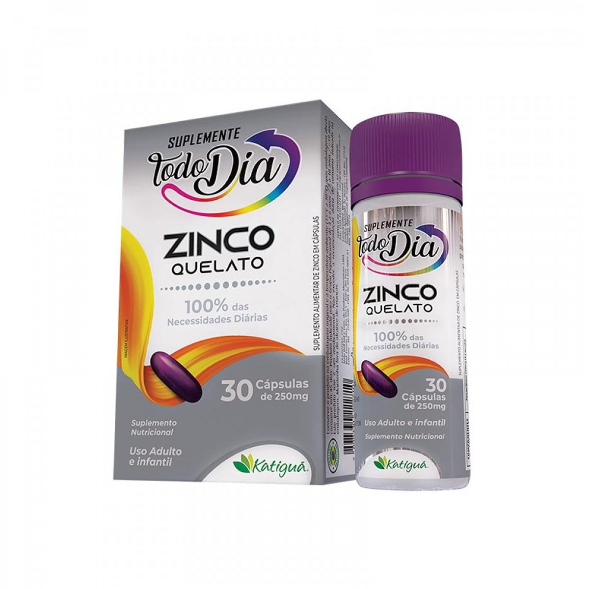 Suplemento Zinco Quelato 250mg 30 cápsulas - Katiguá