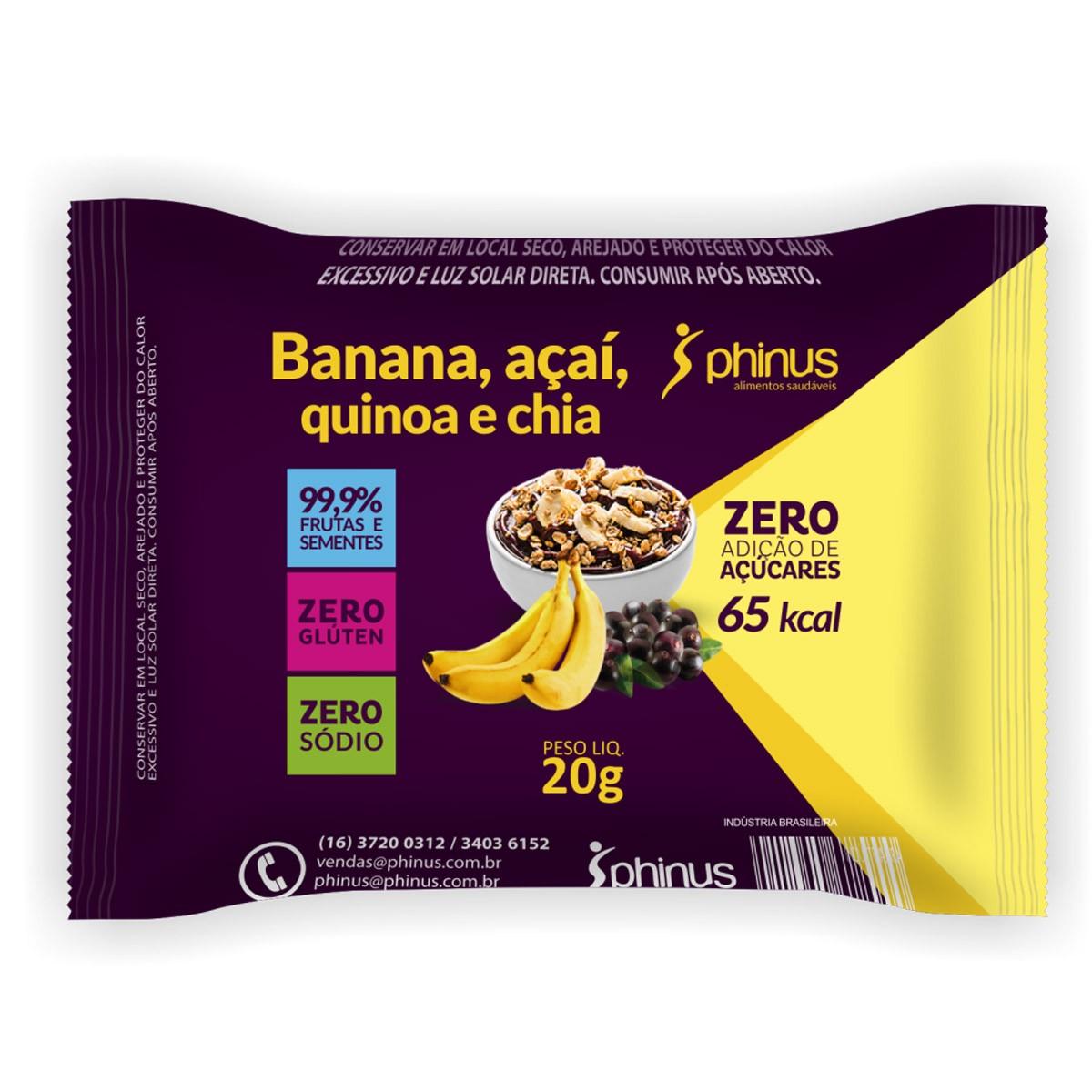 Tablete de Banana, Açaí Zero 20g - Phinus
