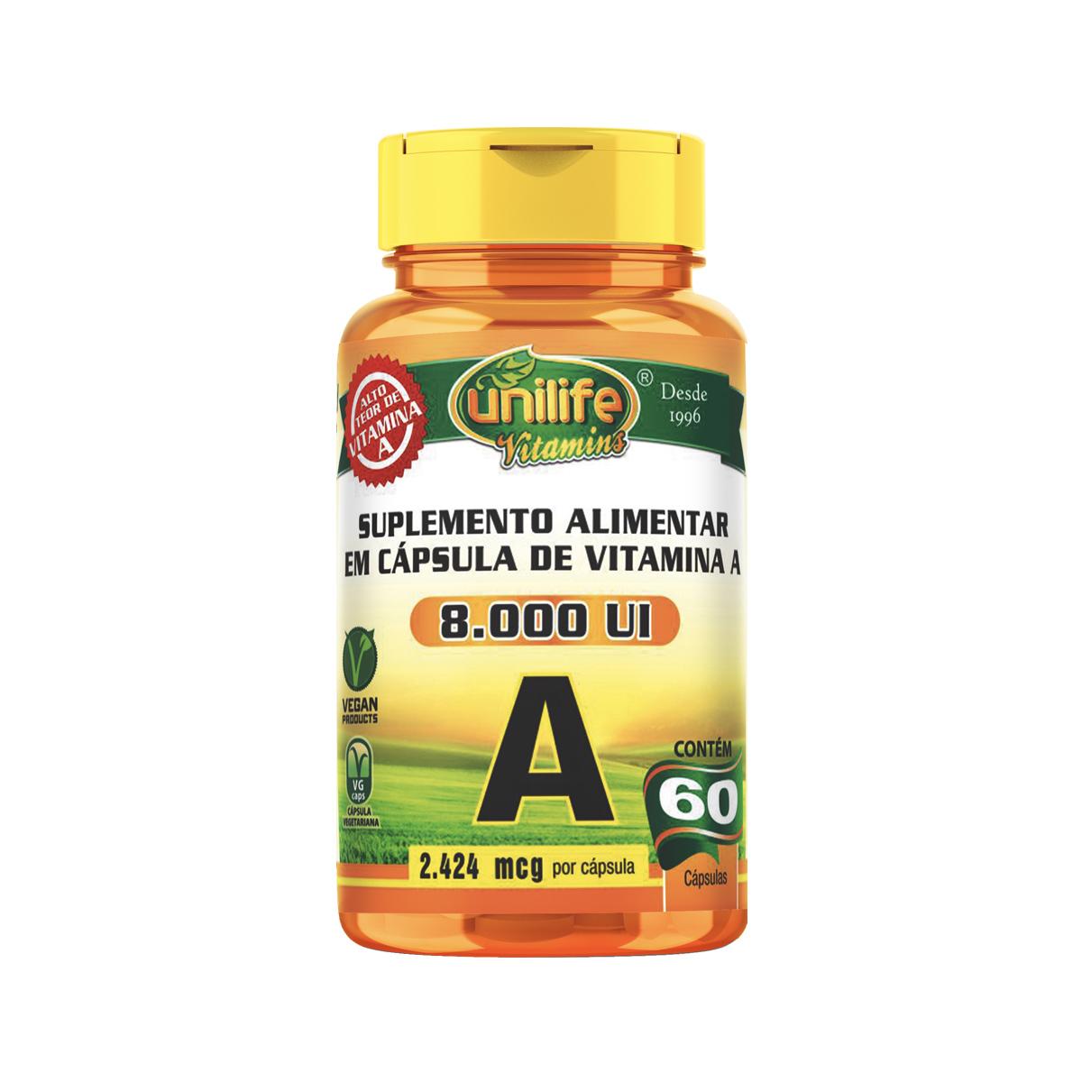 Vitamina A 500mg 60 Cápsulas - Unilife