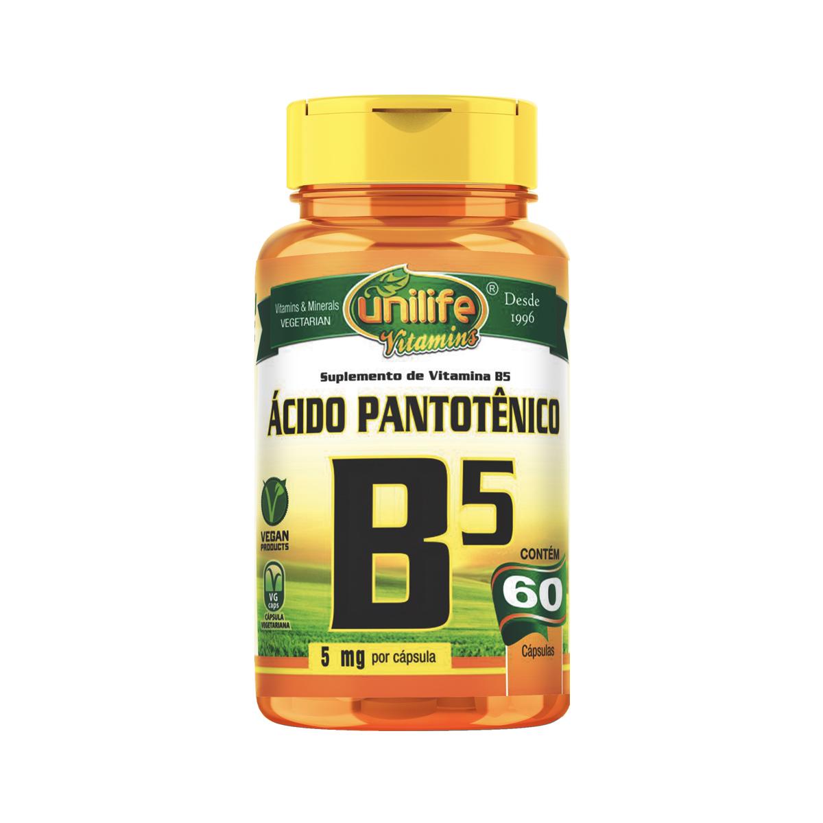 Vitamina B5 500mg 60 Cápsulas - Unilife