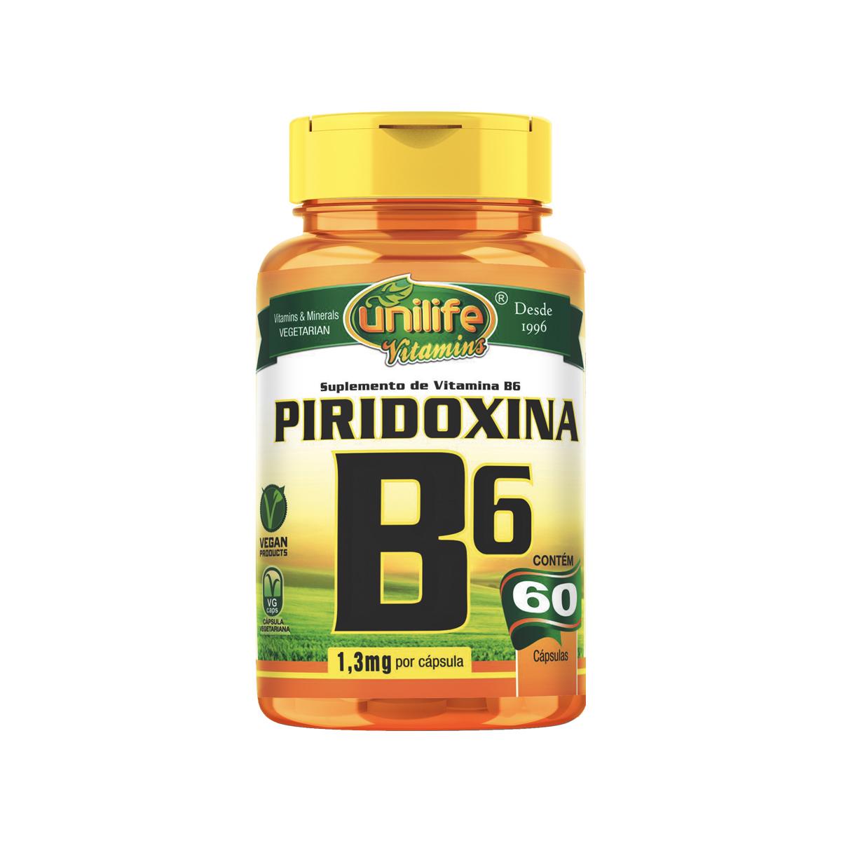 Vitamina B6 500mg 60 Cápsulas - Unilife