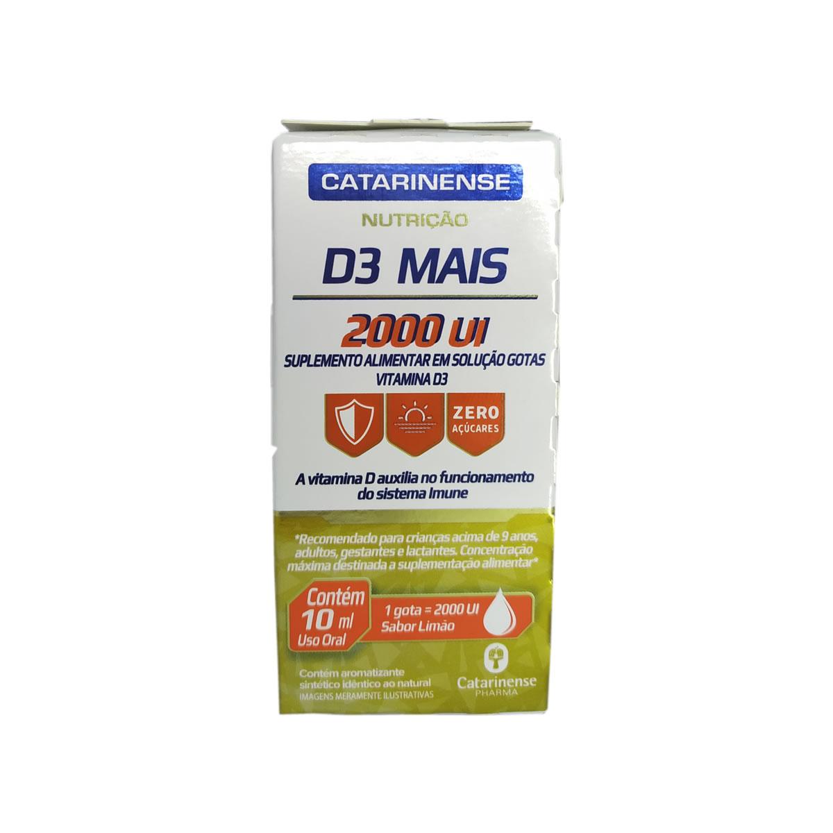 Vitamina D3 Mais 2000 Ui  Sabor Limão 10ml - Catarinense