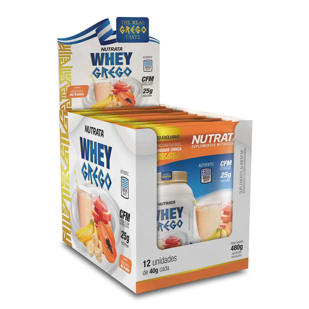 Whey Grego sabor Vitamina de Frutas Display 12 Sachês de 40g - Nutrata