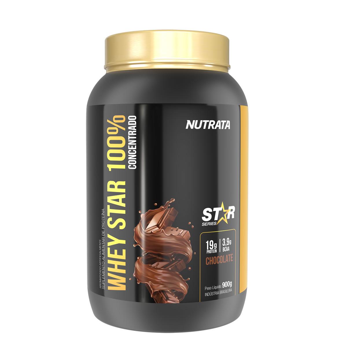 Whey Star 100% sabor Chocolate 900g - Nutrata