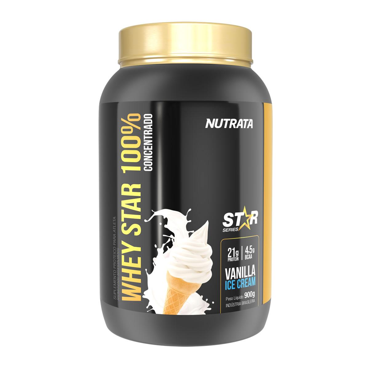 Whey Star 100% sabor Vanilla Ice Cream 900g - Nutrata