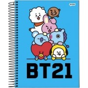 Caderno Bts Mascote Espiral Bt21 96 Folhas 1 Matéria Capa Azul