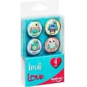 Imã Love Corujas com 4 unidades 23171 MOLIN