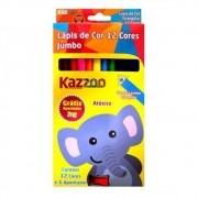 Lápis de Cor 12 Cores Triangular Big Zoo Jumbo KAZ