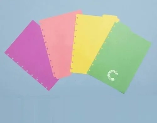 Divisórias Para Caderno Inteligente Grande 4 Folhas Colorida