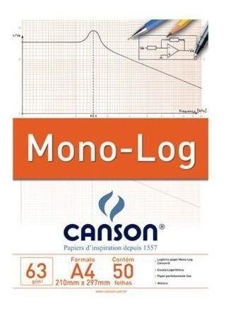 Bloco Papel Branco A4 63G MONO-LOG C/50FLS CANSON