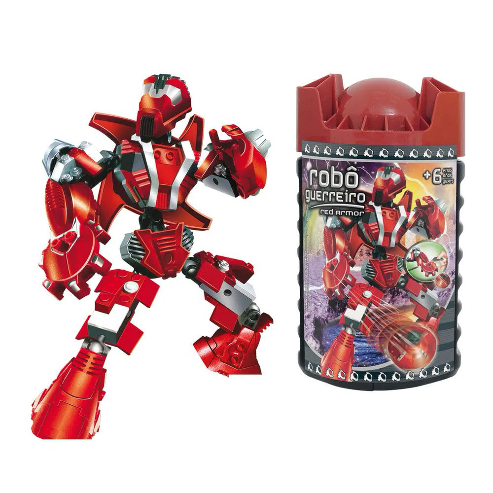 Blocos de Montar 59pcs Robo Guerreiro Vermelho 06976 XALINGO
