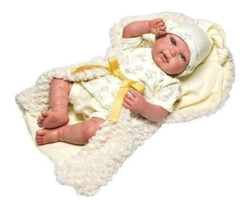 Boneca Bebê Reborn Olhos Abertos Baby Brink 1265