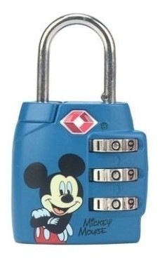 Cadeado com 3 segredos Mickey Azul CD0015MY-AZ LUXCEL