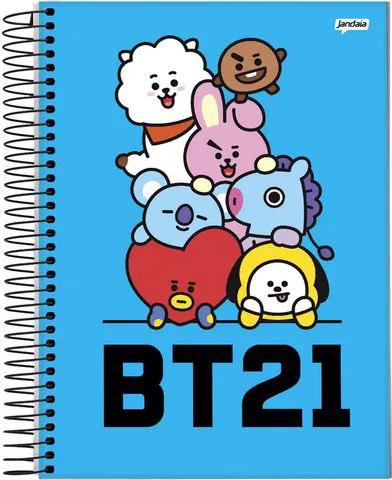Caderno Bts Mascote Espiral Bt21 200 Folhas 10 Matérias Capa Azul