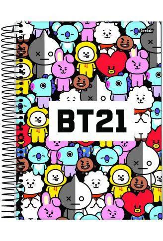 Caderno Bts Mascote Espiral Bt21 200 Folhas 10 Matérias Capa Desenhos