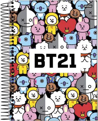 Caderno Bts Espiral Bt21 96 Folhas 1 Matéria Capa Branca