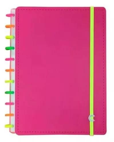 Caderno Inteligente Grande Rosa Neon 80 Folhas