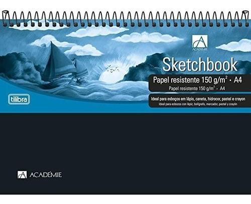 Caderno Sketchbook Espiral Capa Plástica A4, Tilibra, Académie, 50 Folhas