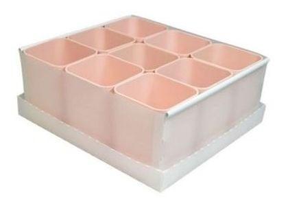 Caixa Organizadora de Objetos Rosa Com 9 Repartições  Dello