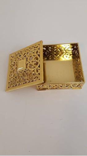 Caixa Plástica Quadrada G Ouro Lembrancinha CP-0126G ART LILLE