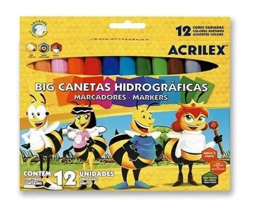 CANETA HIDROGRAFICA 12 CORES  JUMBO ACRILEX