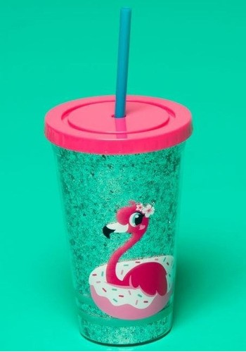 Copo Canudo Flamingo Glitter Puket
