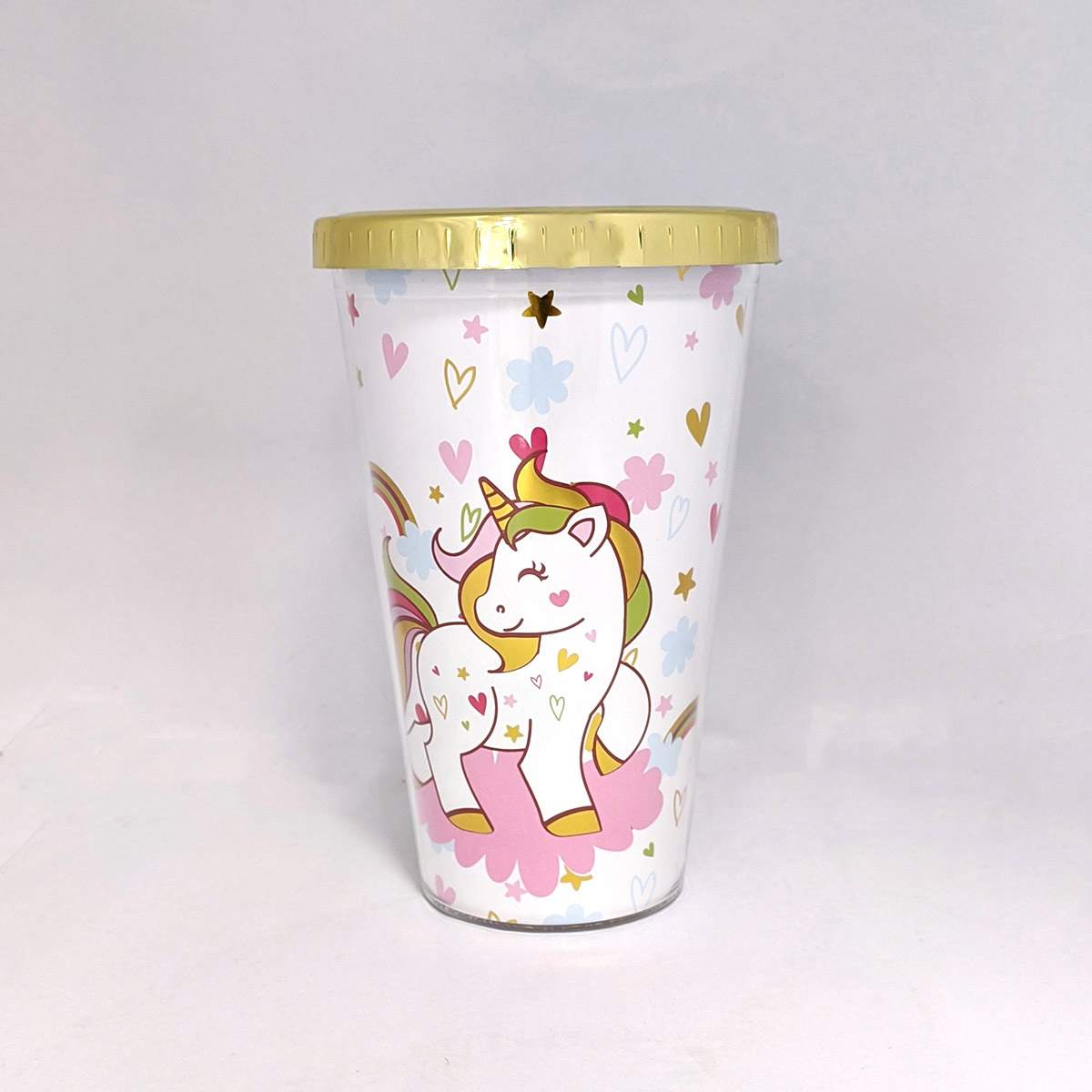 Copo Com Canudo 450ml Unicornio