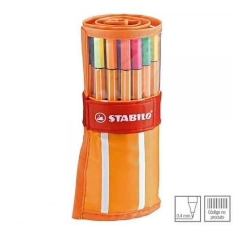 Estojo Caneta Stabilo Point 88 Velcro Com 30 Cores