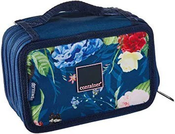Estojo Tecido Container Blue flores 4 Ziperes
