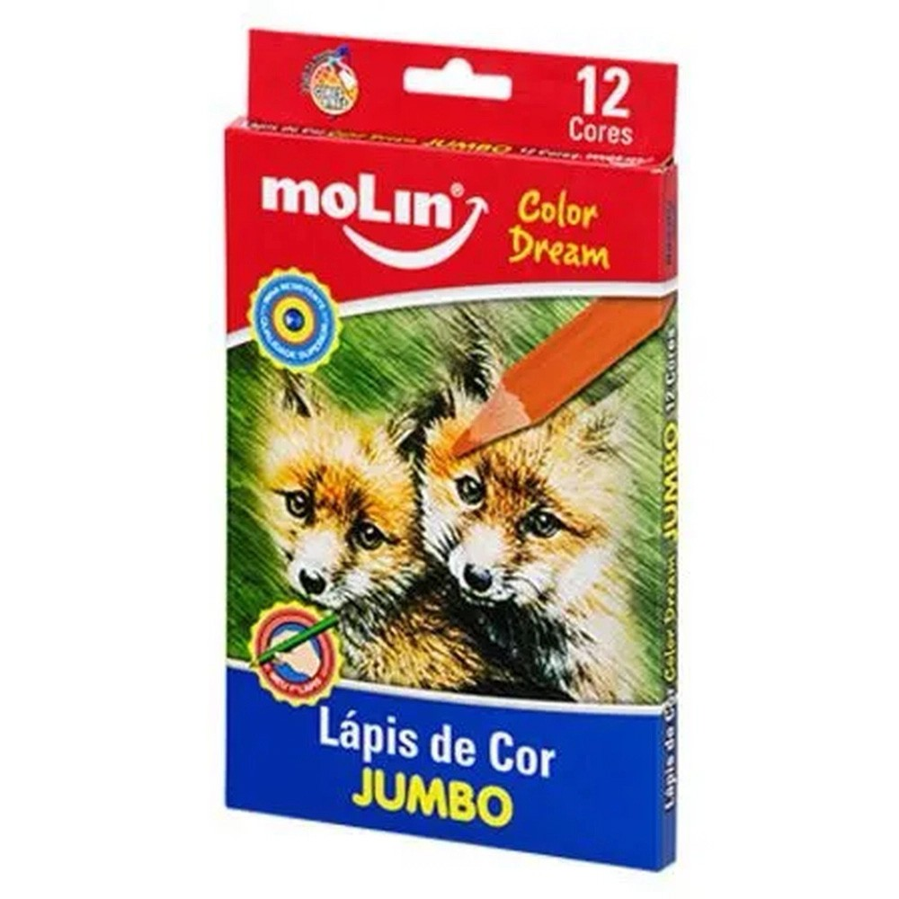 Lápis de Cor Jumbo 12 Cores Color Dream MOLIN